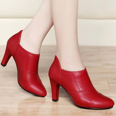 古奇天伦春季新款尖头细跟高跟鞋婚鞋女鞋英伦单鞋休闲低帮鞋子