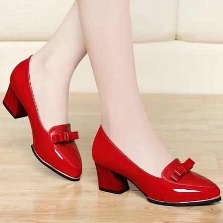 古奇天伦春季新款单鞋女中跟浅口蝴蝶结粗跟鞋子韩版女皮鞋休闲鞋