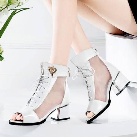 莱卡金顿春夏新款镂空网纱透气鞋中跟女鞋单鞋粗跟防水台鱼嘴高帮女凉鞋LK-A6922