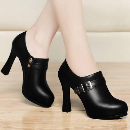 古奇天伦春季新款欧美女士防水台单鞋细跟圆头时尚高跟鞋婚鞋女鞋低帮鞋