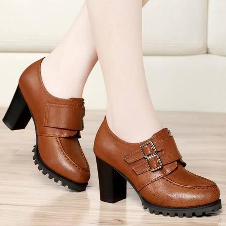 古奇天伦春季新款女士单鞋百搭粗跟休闲鞋高跟女鞋时尚金属扣低帮鞋