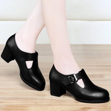 古奇天伦春秋新款女鞋深口圆头高跟鞋粗跟女单鞋防水台休闲鞋