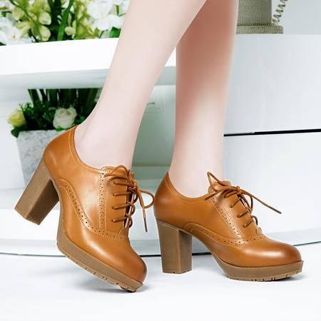 莱卡金顿新款春季女鞋粗跟高跟鞋系带牛筋底休闲鞋圆头时尚女单鞋