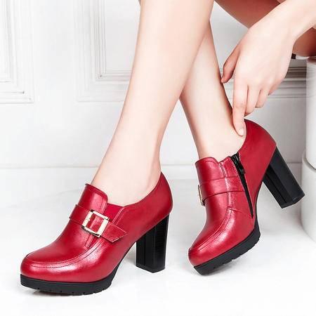 莱卡金顿春季女鞋防水台粗跟高跟鞋时尚厚底深口休闲鞋圆头女单鞋