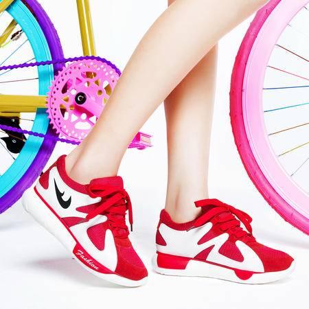 莱卡金顿新款内增高休闲鞋女网纱透气运动鞋时尚女单鞋系带女鞋