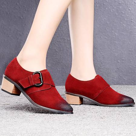 盾狐春季新款时尚单鞋搭扣女英伦尖头中跟粗跟深口OL休闲鞋女鞋