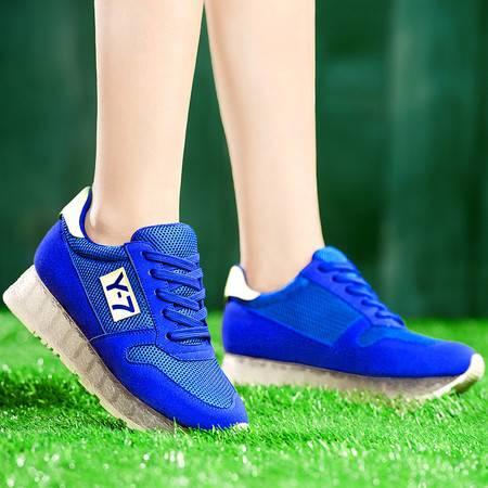 盾狐春季新款平跟网面透气单鞋系带运动鞋低帮休闲鞋厚底潮鞋女鞋子