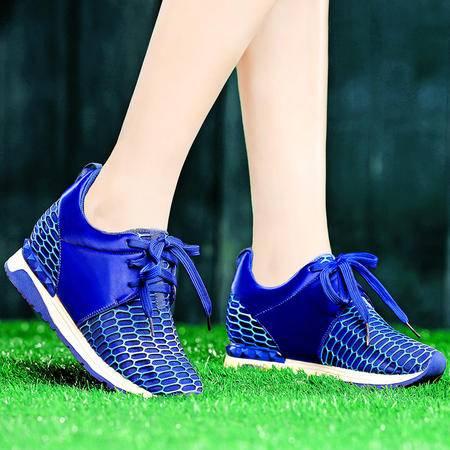 盾狐春季新款休闲鞋时尚平底鞋网纱透气系带运动鞋内增高鞋女鞋