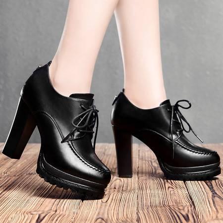 盾狐春季女鞋防水台高跟鞋粗跟系带单鞋时尚低帮鞋加绒保暖休闲鞋