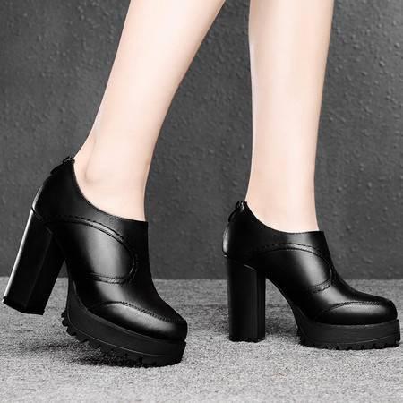 盾狐春季新款时尚女鞋高跟单鞋潮深口英伦粗跟套脚防水台厚底休闲鞋