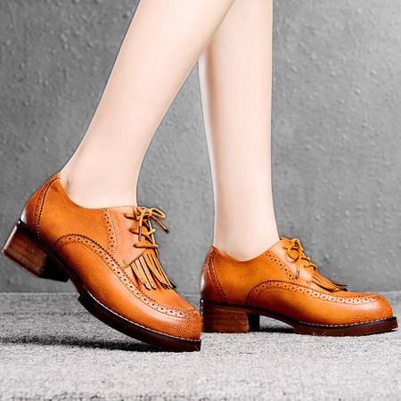 盾狐春季新款单鞋圆头深口女鞋中跟粗跟英伦休闲鞋洛克风系带低帮鞋