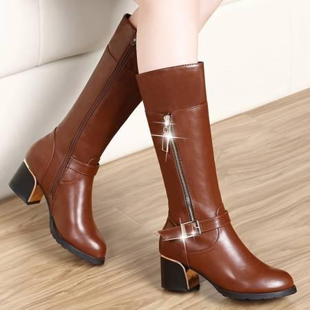 盾狐冬季加绒保暖女式马丁靴时尚中跟长靴长筒女靴子粗跟英伦女鞋