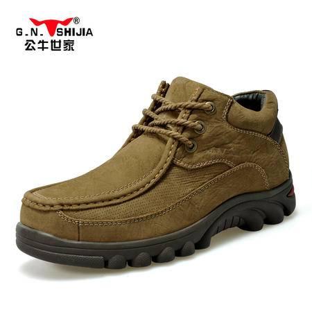 公牛世家冬季男鞋爸爸鞋高帮鞋男士休闲鞋工装靴中老年加绒保暖棉鞋雪地靴
