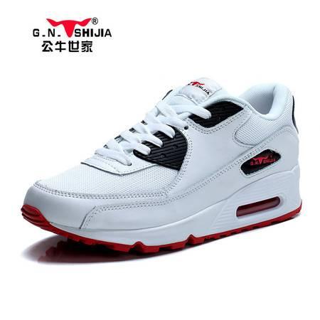 公牛世家新款气垫跑步鞋子男鞋韩版潮流运动鞋休闲鞋内增高男士单鞋