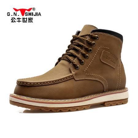 公牛世家冬季男鞋高帮工装鞋保暖加绒男士棉鞋马丁靴韩版休闲靴子雪地靴