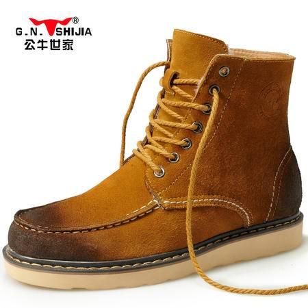 公牛世家冬季雪地靴男靴短筒真皮靴子加绒保暖棉鞋韩版短靴男鞋