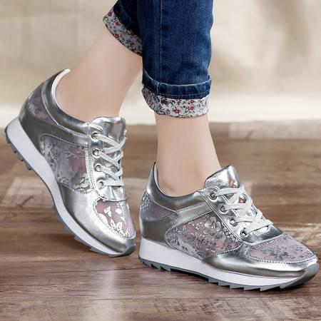 古奇天伦2015春款休闲鞋运动鞋韩版花朵网纱透气女鞋平跟旅游鞋单鞋