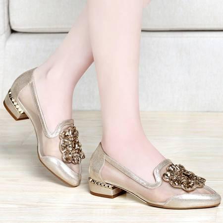百年纪念春夏新款网纱透气女单鞋时尚水钻低帮鞋套脚方跟矮跟女鞋子