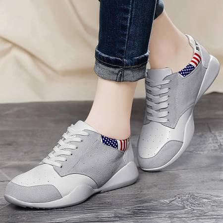 百年纪念春季新款平底鞋时尚透气运动鞋系带单鞋休闲鞋低帮鞋女鞋子