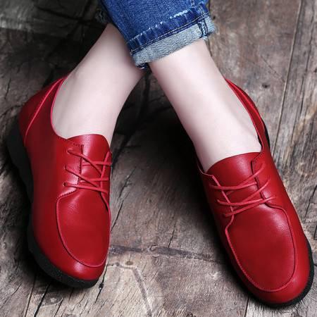百年纪念春秋季新款鞋子韩版平跟单鞋系带平底休闲鞋时尚软底低帮女鞋