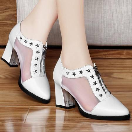 百年纪念春季新款尖头网纱透气女鞋粗跟高跟鞋时尚休闲鞋低帮单鞋