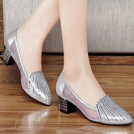 百年纪念春季新款甜美时尚网纱透气女鞋粗跟高跟鞋尖头休闲单鞋水钻女鞋