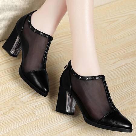 百年纪念春夏新款韩版网纱透气女鞋粗跟高跟鞋尖头时尚铆钉低帮鞋单鞋