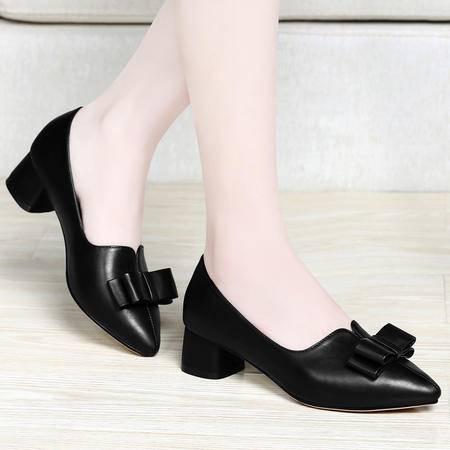 百年纪念春季新款女鞋尖头蝴蝶结套脚性感方跟低跟女浅口休闲鞋OL单鞋