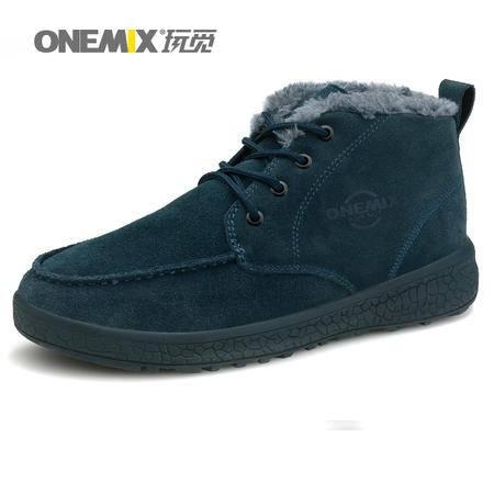 ONEMIX玩觅冬季高帮鞋男鞋防滑户外鞋徒步鞋加绒保暖登山鞋系带男靴子
