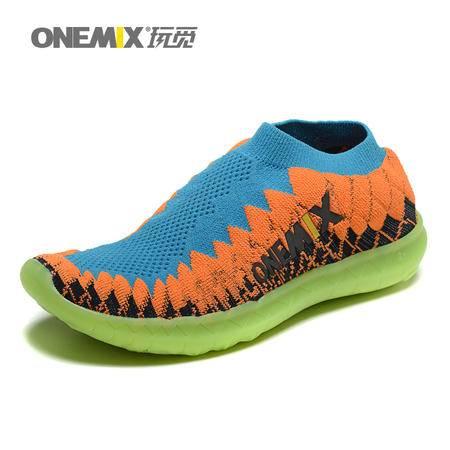 ONEMIX玩觅春夏运动鞋情侣鞋男女跑步鞋夜光编织鞋透气轻便跑步鞋男鞋女鞋休闲鞋
