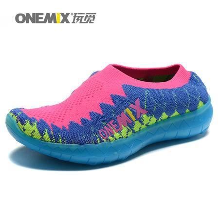 ONEMIX玩觅春秋童鞋彩虹休闲鞋女童闪光鞋儿童夜光鞋男童潮鞋套脚儿童跑步鞋