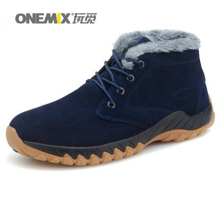 ONEMIX玩觅冬季男鞋防滑户外鞋运动徒步鞋平底加绒保暖登山鞋系带高帮鞋