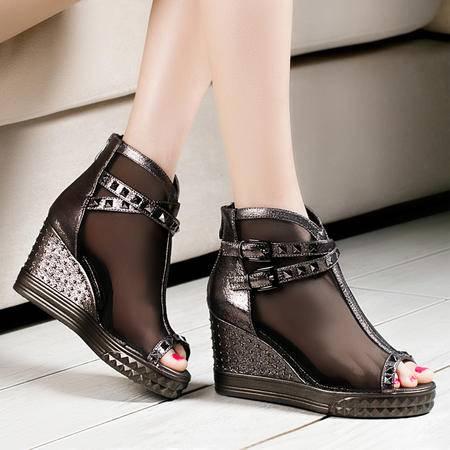 莱卡金顿春夏新款女单鞋网纱鞋透气时尚坡跟高跟鞋鱼嘴厚底防水台凉鞋女鞋