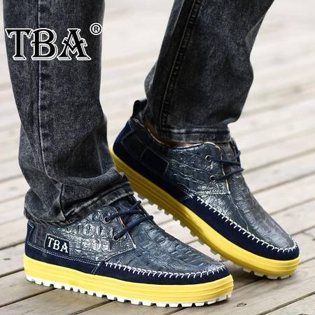 牛头酋长春季新款男鞋潮流鳄鱼纹皮鞋真皮休闲鞋时尚英伦厚底运动板鞋