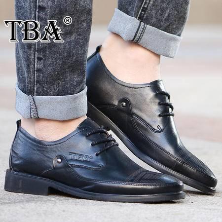 牛头酋长春季男鞋英伦休闲皮鞋头层牛皮低帮透气男士鞋子尖头系带皮鞋