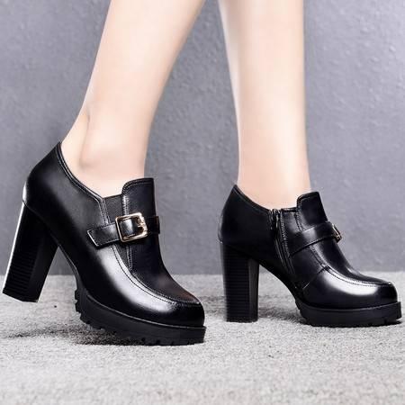 盾狐春季新款高跟鞋女单鞋防水台时尚英伦风裸靴粗跟低帮女鞋
