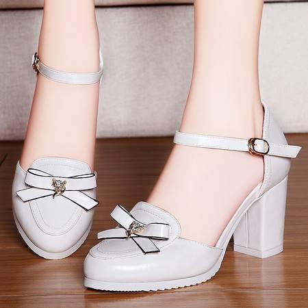盾狐春夏新款粗跟单鞋甜美蝴蝶结圆头高跟鞋浅口包跟百搭女鞋休闲鞋