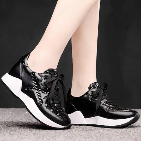 盾狐女鞋春季新款休闲鞋平底网纱透气单鞋欧美柳钉系带厚底运动鞋