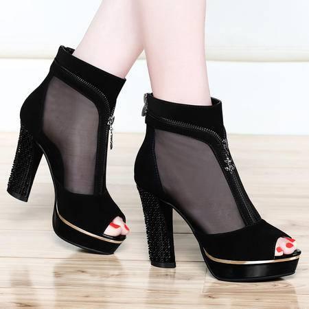 古奇天伦夏季凉鞋性感女鞋粗跟防水台高跟鞋网纱透气鱼嘴鞋高帮鞋