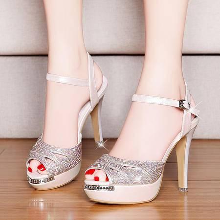 盾狐夏新款韩版鱼嘴鞋凉鞋女防水台水钻细跟高跟鞋时尚优雅镂空女鞋子