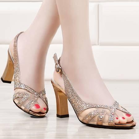 盾狐新款凉鞋夏季网纱透气女鞋欧美舒适粗跟鱼嘴鞋高跟鞋单鞋