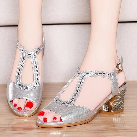 盾狐夏季新款鱼嘴鞋凉鞋粗跟中跟水钻女鞋子时尚镂空罗马鞋时尚女鞋