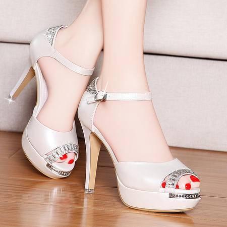 盾狐夏季新款鱼嘴鞋优雅女凉鞋防水台水钻细跟高跟鞋罗马鞋包跟女鞋子