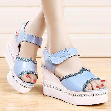 盾狐女鞋夏季新款厚底坡跟单鞋青春学生鞋鱼嘴凉鞋水钻防水台松糕鞋