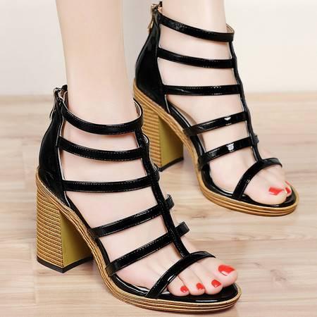 百年纪念夏季高跟鞋女凉鞋百搭女鞋欧美粗跟方跟鱼嘴防水台罗马鞋