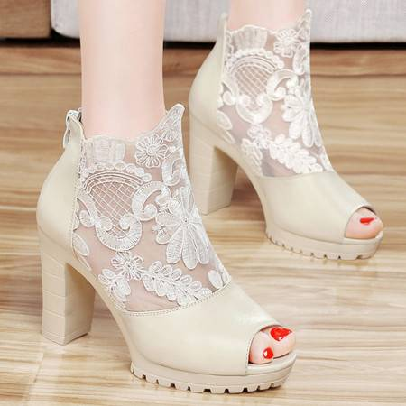 百年纪念春夏新款凉鞋鱼嘴鞋蕾丝高跟鞋粗跟防水台欧美透气包跟女鞋子