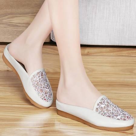 百年纪念春夏新款网纱透气包头凉拖女中跟鞋子百搭水钻时尚女鞋子单鞋