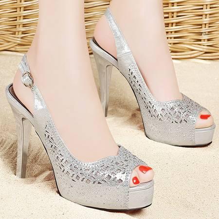 百年纪念夏季新款凉鞋浅口镂空鱼嘴细跟厚底防水台高跟鞋透气女鞋