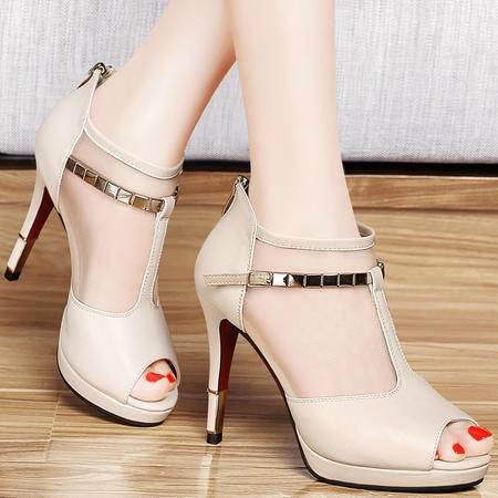 百年纪念春夏新款鱼嘴鞋网纱透气凉鞋包跟深口女鞋防水台细跟高跟鞋单鞋