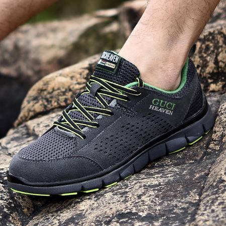古奇天伦夏季英伦网布鞋透气休闲鞋系带运动户外登山鞋潮鞋子男鞋
